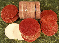 """100pc 120 Grit 2"""" HOOK and LOOP SANDING DISCS A/O Red No Hole sandpaper disk USA"""