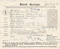 QUEENSLAND STOCK Jun 1938 DeZoete & Gorton Cancel Dividends Receipt Ref 46892