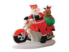 Christmas Inflatable Air Blown Yard Decoration Santa Claus Reindeer Motorcycle