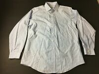 Brooks Brothers Mens Blue Plaid Front Pocket Button Front Shirt Size 16.5-35