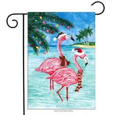 "Christmas Flamingos Nautical Garden Flag Tropical Holiday Beach 12.5"" x 18"""