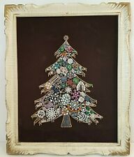 Vintage Framed Christmas Tree Costume Made From Brooches Holiday Art Bling