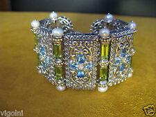 BARBARA BIXBY BRACELET TOPAZ PERIDOT DIAMOND PEARL FLOWER MAHAL STATEMENT GIFT