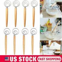 Danish Dough Whisk Stainless Steel Kitchen Tool Dutch Dough Hand Mixer Whisk New