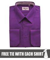 Berlioni Italy Men's Convertible Cuff Solid Dress Shirt Purple + FREE TIE