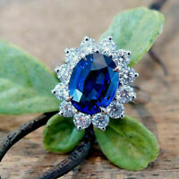 3.00 Ct Oval Cut Sapphire Diamond Halo Engagement Ring 14k White Gold Finish