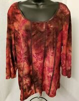 Sere Nade NWT Womens Spice Brown Floral Design Shirt Top Blouse Size 2X