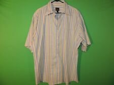JOS. A Bank Mens Size XL Extra Large 100% Linen Striped Short Slv Button Shirt