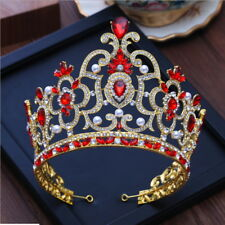 14cm High Super Large Red Crystal Crown Tiara Wedding Prom Party Pageant
