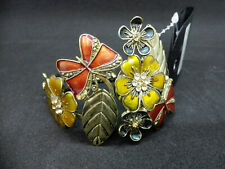Gorgeous Brass & Enamel Hinged Bangle Bracelet with Floral Design & Butterflies