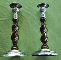 Pair Antique English  Barley Twist Candlesticks wood, brass