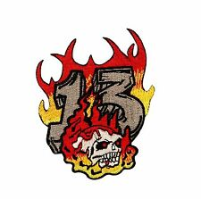 Skull in Flames Number 13 Embroidered iron on Motorcycle Biker Patch
