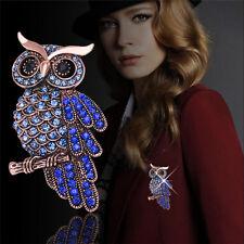 Fashion Bridal Owl Gold Plated Pin Vintage Crystal Rhinestone Wedding Brooches