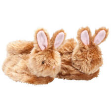 Brown Plush Bunny Slippers, Brown