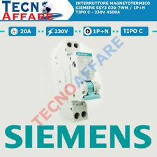 Interruttore Automatico Magnetotermico C20 1+N 4.5kA Siemens 5SY3 020-7WM