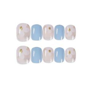 Fake Nails White Flower Pattern False Nail Fresh Short Full Artificial with Glue