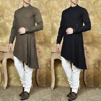 Mens Shirt Kurta 100%Cotton Indian Ethnic Dress Summer Tops Tunic Kurta Pajama