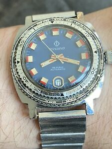 AUTOMATIC CANDINO DIVER Watch 25Jewels Swiss Made Cal 2472 38mm Blue Dial!!