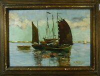 Norddeutsche Künstler Martin Böttjer Fischerboote auf der Weser Öl signiert 1932