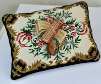 Needlepoint Classical Music Pillow Cover Throw Accent Beige Black Rose 15 X 11