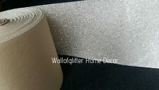 3D White/Silver Glitter Fabric Self Adhesive Border Wallcovering, Crafts, Etc