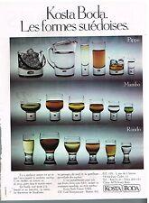 Publicité Advertising 1977 Les Verres Kosta Boda