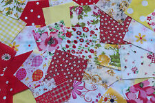 "100 x 4"" Yellow & Red poly cotton fabric patchwork squares Craft Quilting"