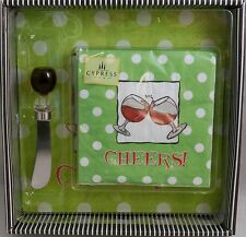 Cutting Board and Cheese Spreadsr Set Including Matching Napkins  CHEERS