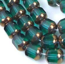 25 Aquamarine AB Czech Atlas Tube Glass Beads 10x4mm