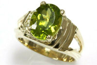 2.2 ct tw Natural Green Peridot & Diamond Solid 14k Yellow Gold Cocktail Ring