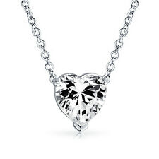 Lovely 14K White Gold 1.10 CT White Heart Shape Diamond Cut Moissanite Pendant