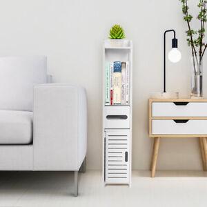 White Wooden Bathroom Storage Cabinet Shelf Slim Cupboard Unit Narrow Standing