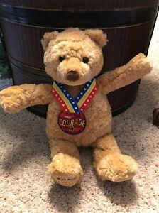 """May GUND Wish Bear COURAGE 2003 13"""" Tan Color Ribbon w/Rubber Medal #T1"""