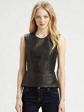 MICHELLE MASON BLACK LEATHER SNAKESKIN PEPLUM TOP 2 UK 8/10