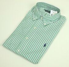Classic Fit RALPH LAUREN Dress Shirt $70 NWT 16, 32/33 Green White Striped Polo