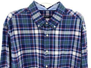 Men's Plaid Dress Shirt Size 3XLT Tall Navy Blue Multicolor Cremieux Classic New