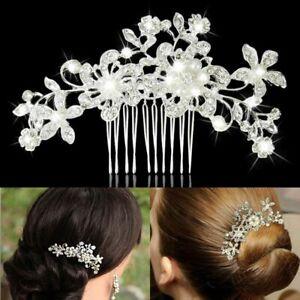 Flower Wedding Hair Pins Comb Bridal Clips Crystal Pearl Bridesmaid Accessories