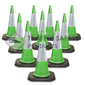 Pack of 10 - ELITE Traffic Cones 1000 mm 2 piece GREEN