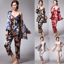 UK 3Pcs Womens Silk Satin Set Pyjamas Nightwear Ladies Pajamas Sleepwear Suits