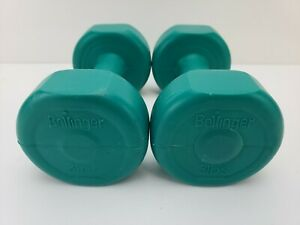 Set of 2 x 3lb Bollinger Plastic Coated Dumbbells  (6lb total) Green