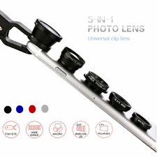 5 in1 Mobile Phone Camera Lens Set Fish Eye Wide Angle Macro Clip Kit For iPhone
