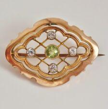Antico murrle Bennett 9 KT GOLD Peridot & Bianco Zaffiro Spilla c1910