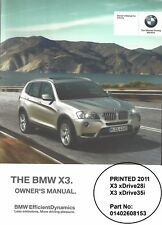BMW 2011 F25 X3 28i 35i W-iDrive (En/US) NEW Owner Manual Handbook 01402608153