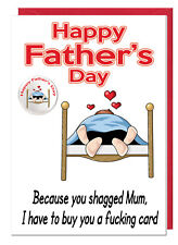 Funny Rude Joke Dad Stepdad Fathers Day Card & Badge - Because You Shagged Mum