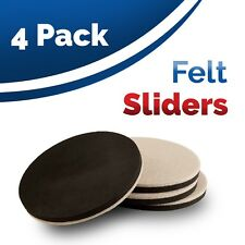 4 Reusable Heavy Duty Furniture Felt Sliders For Hard Surfaces. 8.9cm Diameter