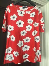 women's tops M&S Collection t-shirt red floral pattern  100% cotton size 10