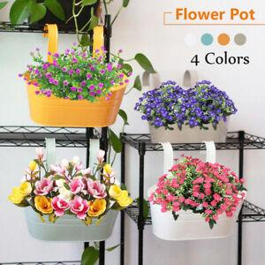 4 Colors Flower Pot Hanging Pot Iron Hook Metal Plant Garden Balcony Planter