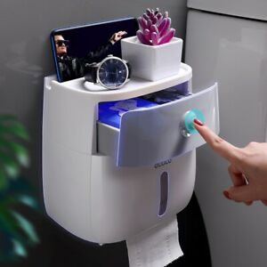 Waterproof Plastic Toilet Paper Holder Bathroom Shelf Storage Box Portable