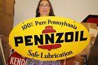 """Vintage 1971 Pennzoil Motor Oil Gas Station 2 Sided 31"""" Metal Sign"""