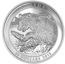 Canada $20 1 oz. Proof 99,99 % Fine Silver Coin– Grizzly Bear: The catch  (2015)